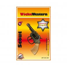 Scout 100-shot pistol, Western 135mm, blister card, metal