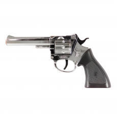 Rodeo 100-Schuss Pistole Chrom, Western 198mm, Blisterkarte