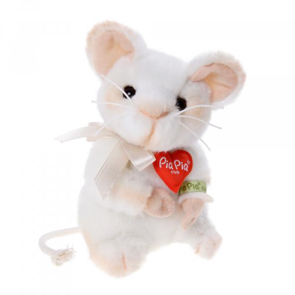 Mouse white 13cm, sitting