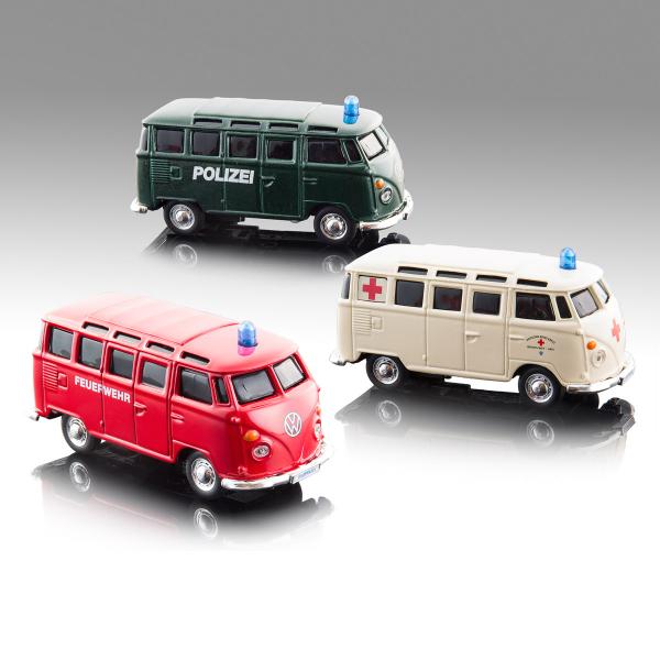 """Light & Sound VW T1 """"Einsatzfahrzeuge"""" 12cm, sort."""