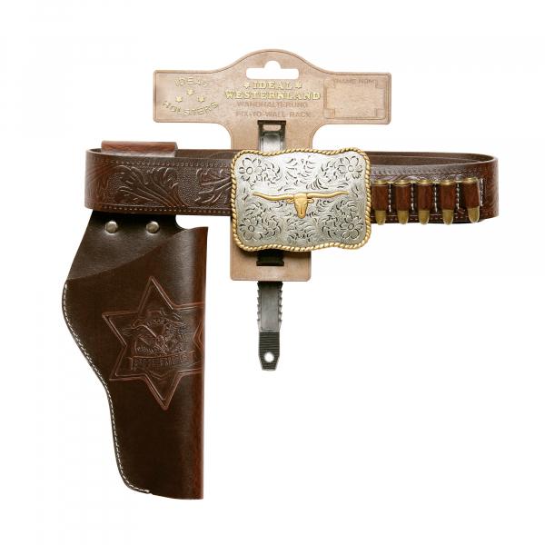 """Lederimitatgürtel """"Bull"""" 85-120cm, 1 Holster, Tester"""