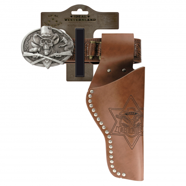 """Belt """"Skull"""" with rivets, 95-135cm, 1 holster, tester"""